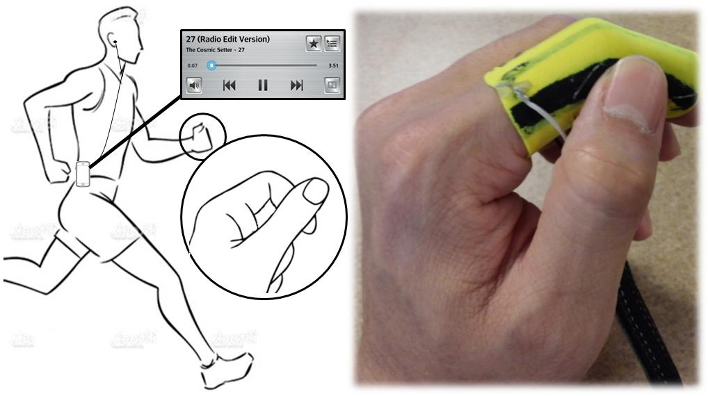 Plex: Finger-Worn Textile Sensor for Mobile Interaction during Activities