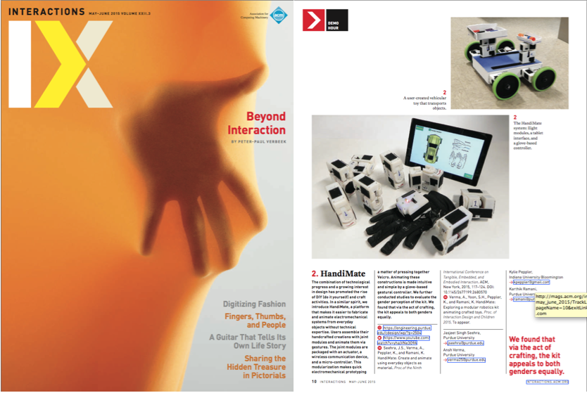 HandiMate in the latest cover of ACM Interactions Magazine. (pg. 10)