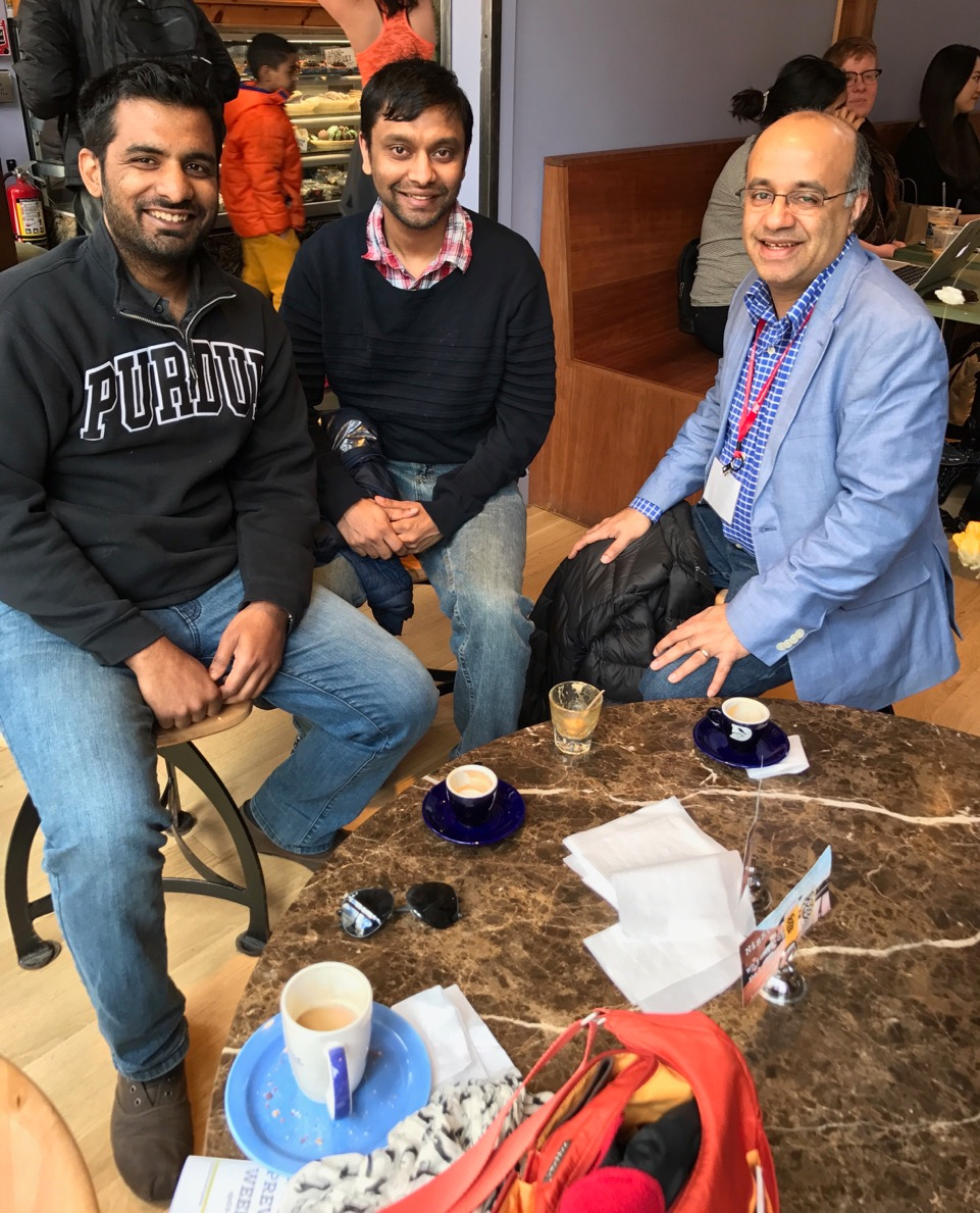 Meeting with C Design Lab Alums Dr. Devarajan and Sinha at MIT coffee shop