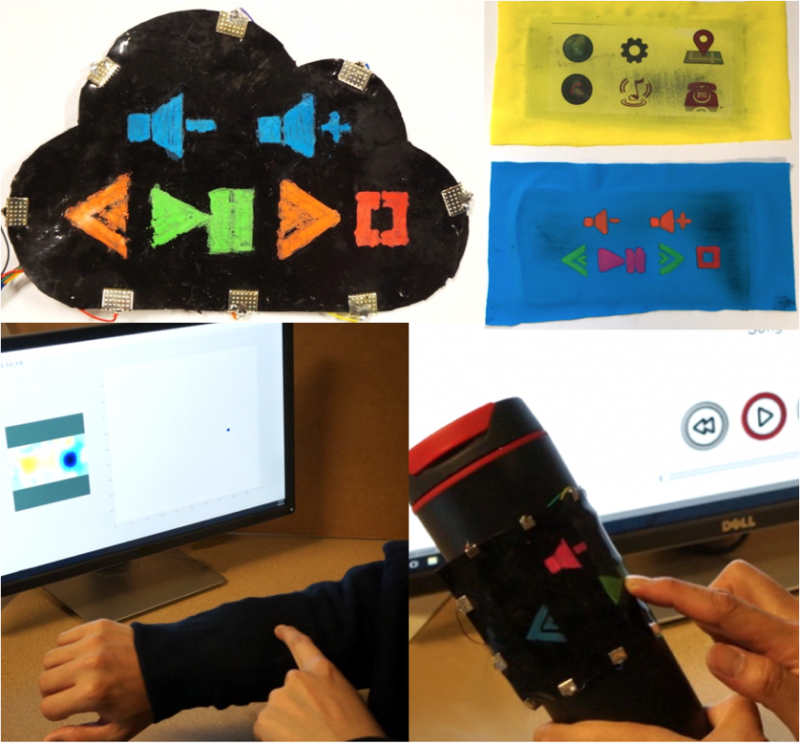 iSoft: A Customizable Soft Sensor with Real-time Continuous Contact and Stretching Sensing