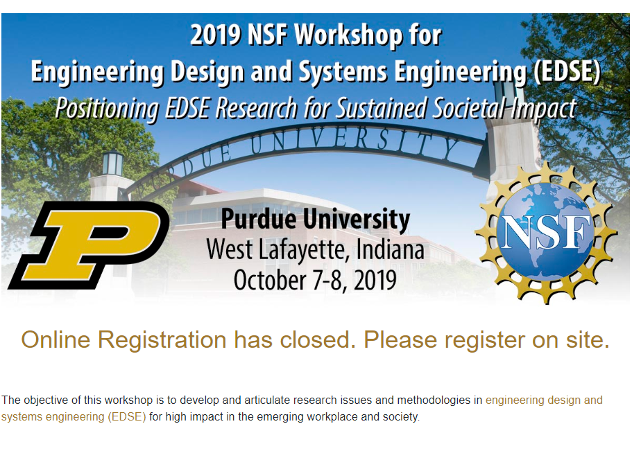 2019 NSF Workshop for Engineering Design and Systems Engineering (EDSE)