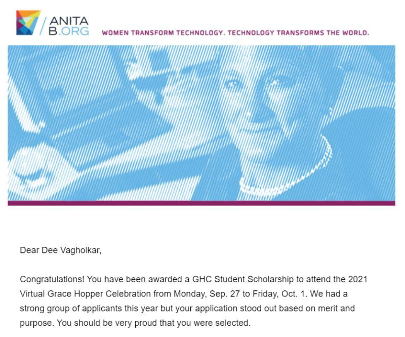 Dee Devashri Vagholkar is awarded the Grace Hopper Student Scholarship