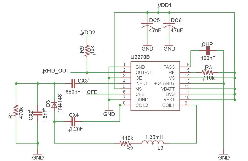 At VS pin, 110k ohm resistor