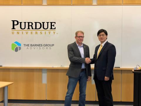John Barnes and Mung Chiang, Purdue's John A. Edwardson Dean of the College of Engineering