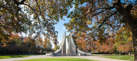 Engineering Hovde Fountain Fall Season