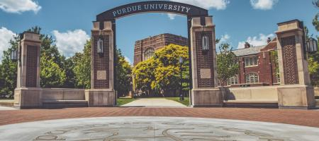 Purdue University Arch in front of Purdue Memorial Union