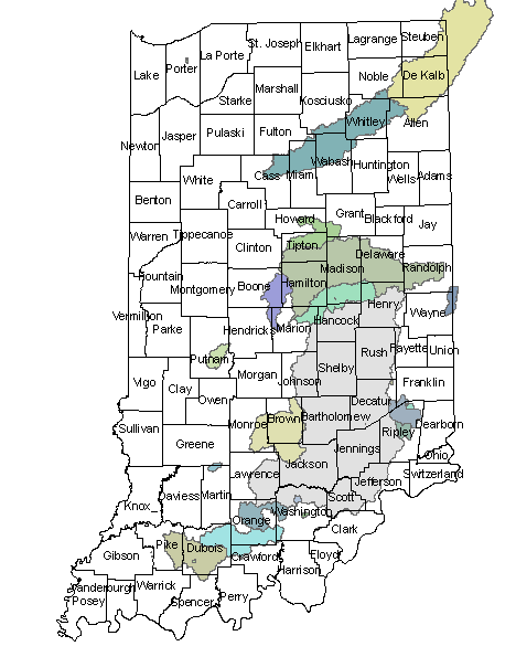 Hamilton Lake Indiana Map.Watersheds By County