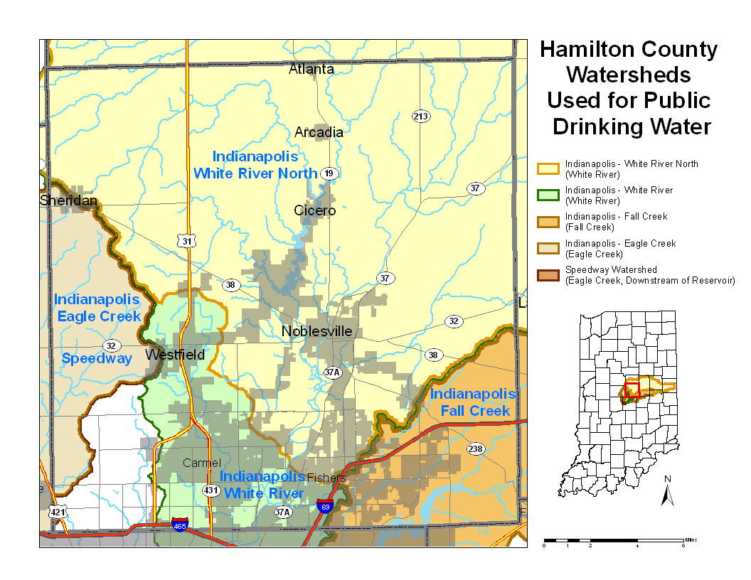 Atlanta Indiana Map.Hamilton County Watershed Map