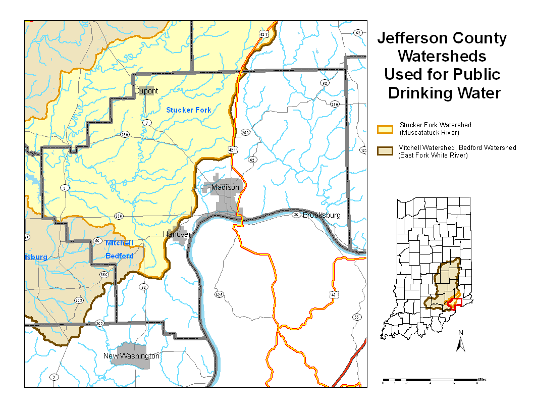 Jefferson County Indiana Map.Jefferson County Watershed Map